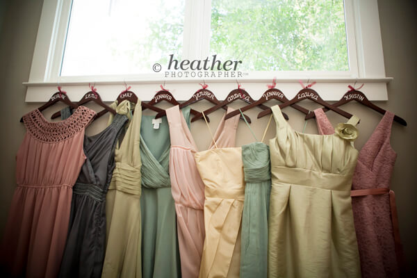 bridesmaids' dresses and custom hangers